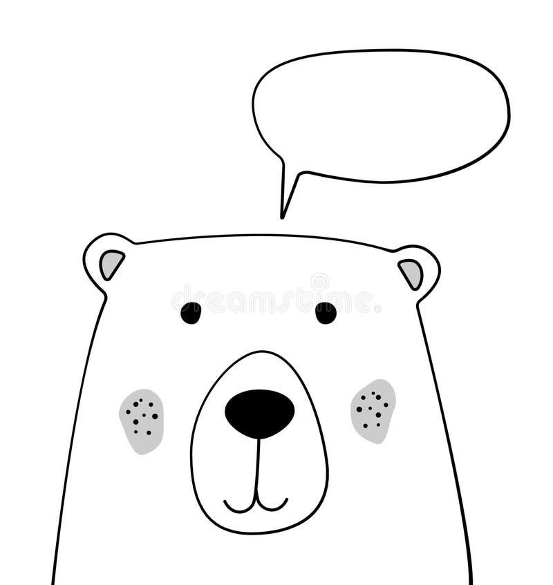 Gekritzelkarikaturbär mit Chatwolken-Skizzenillustration Unterhaltung, Dialog Eine sprechenperson Teddy Bear Wildes Tier postkart vektor abbildung