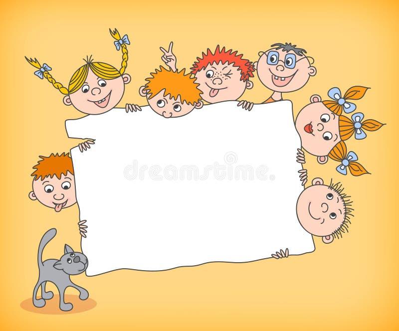 Gekritzelkinder, die leeres Zeichen halten stock abbildung