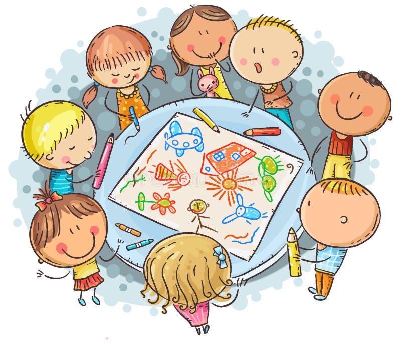 Gekritzelkinder, die zusammen zeichnen lizenzfreie abbildung
