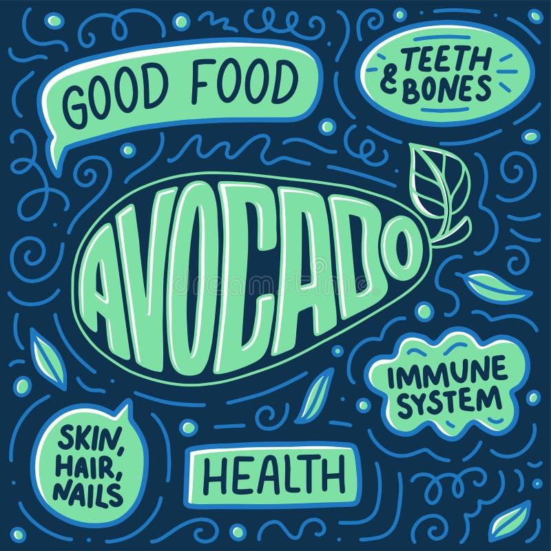 Gekritzelplakat mit Beschriftung Natürliche Nahrung Sonnenkollektor und Zeichen für alternative Energie Zeichenfahne für das Koch lizenzfreie abbildung