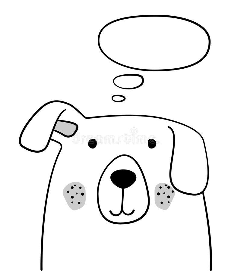 Gekritzelskizze Hund mit Gedankenwolkenillustration Karikaturhund mit dem angehobenen Ohr und denkender Blase haustier Haustier p lizenzfreie abbildung