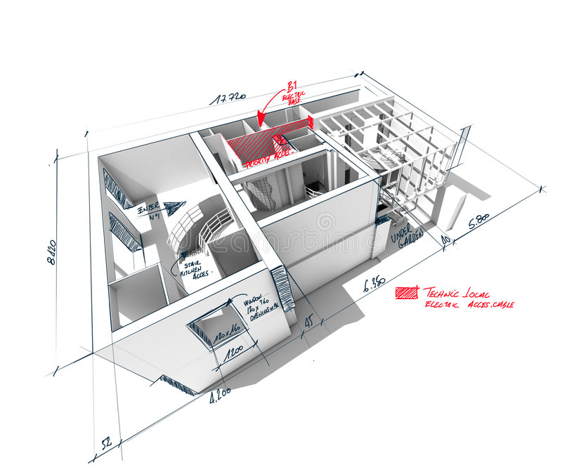 Gekritzelte Hausarchitektur-Wiedergabe vektor abbildung