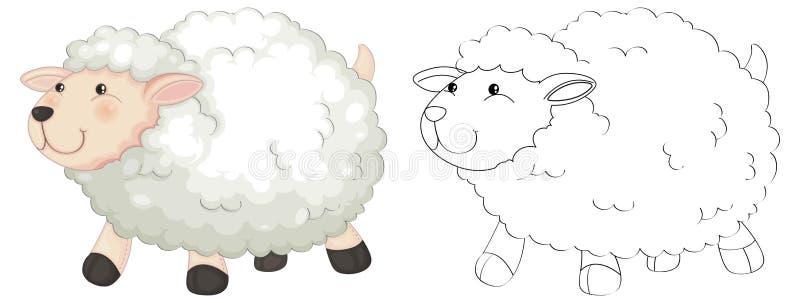 Gekritzeltier für flaumige Schafe stock abbildung