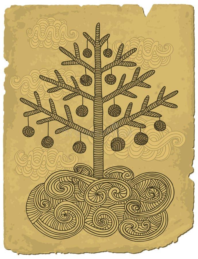 Gekritzelweihnachtsbaum stock abbildung