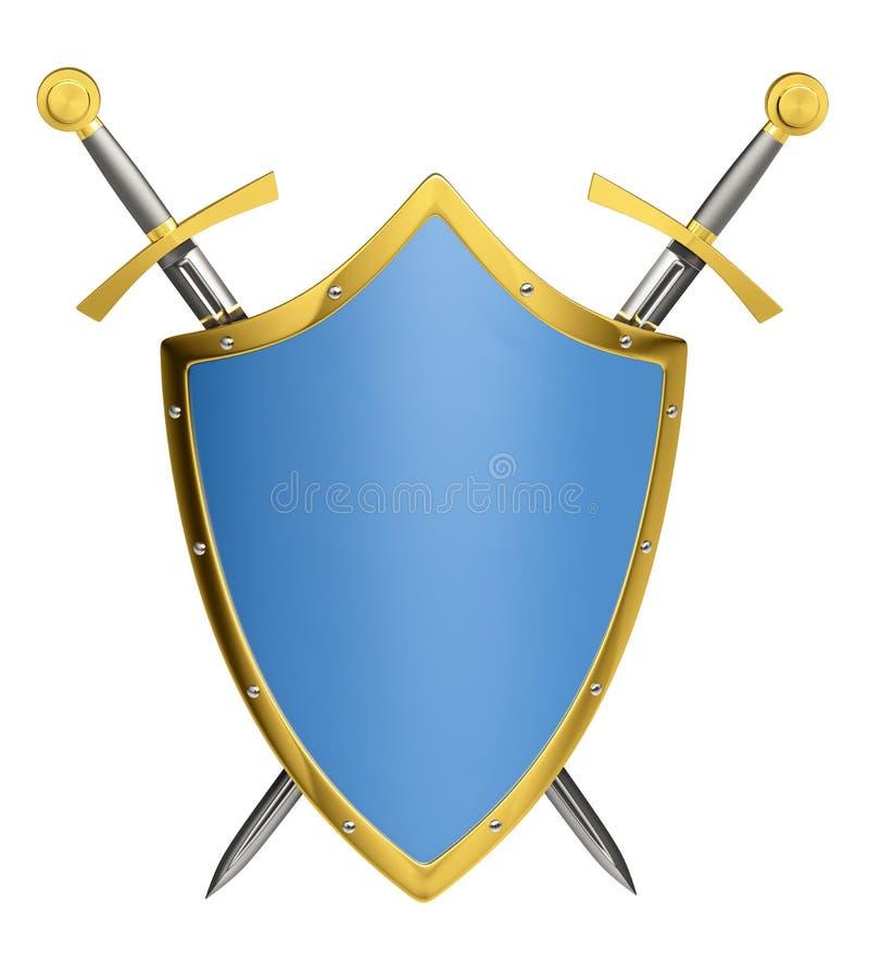 Gekruist zwaarden en schild royalty-vrije illustratie