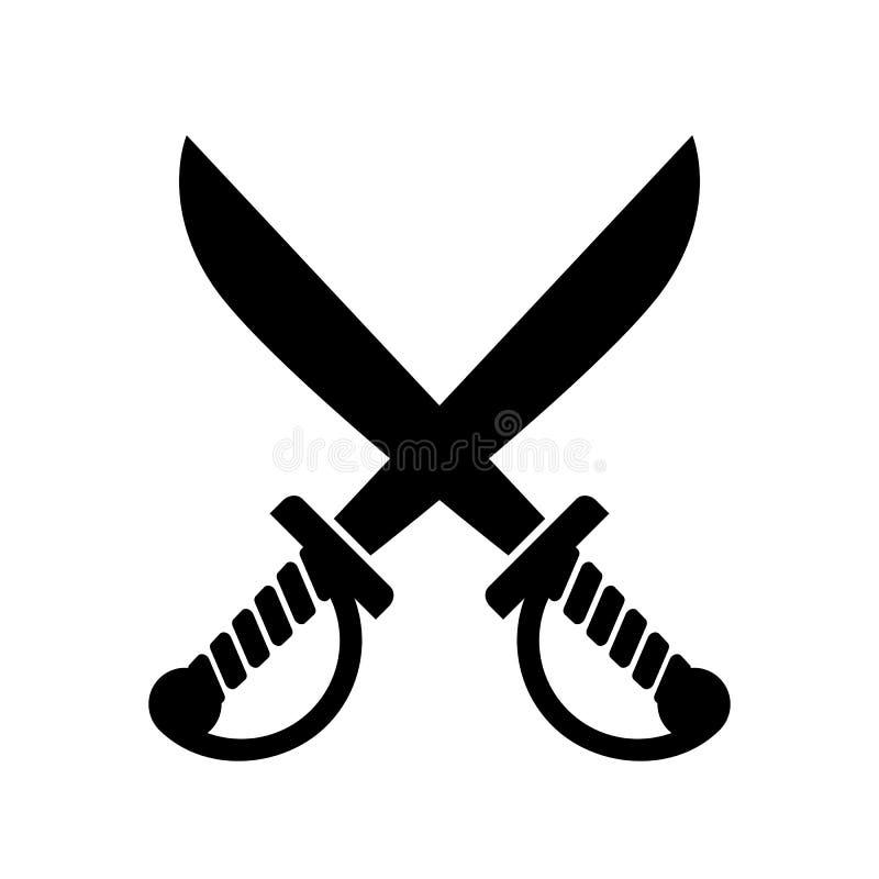 Gekruist zwaardpictogram, piratensymbool royalty-vrije illustratie