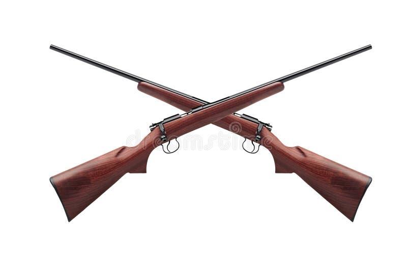 Gekruiste die geweren op wit worden geïsoleerd stock afbeelding