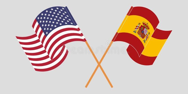Gekruiste en golvende vlaggen van de V.S. en Spanje royalty-vrije stock foto