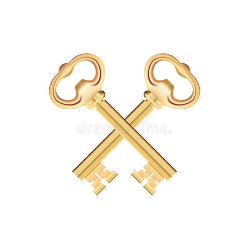 Gekruiste Gouden die Sleutels op witte Achtergrond worden geïsoleerd Vector vector illustratie
