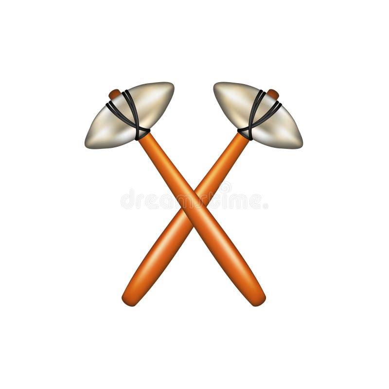 Gekruiste hamers van de voorhistorische mens stock illustratie