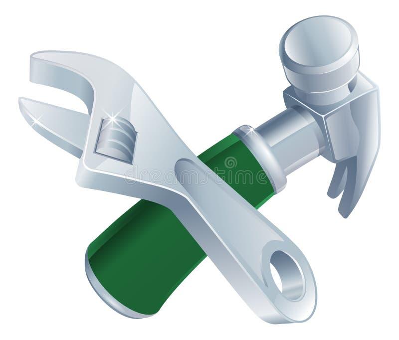 Gekruiste moersleutel en hamerhulpmiddelen vector illustratie