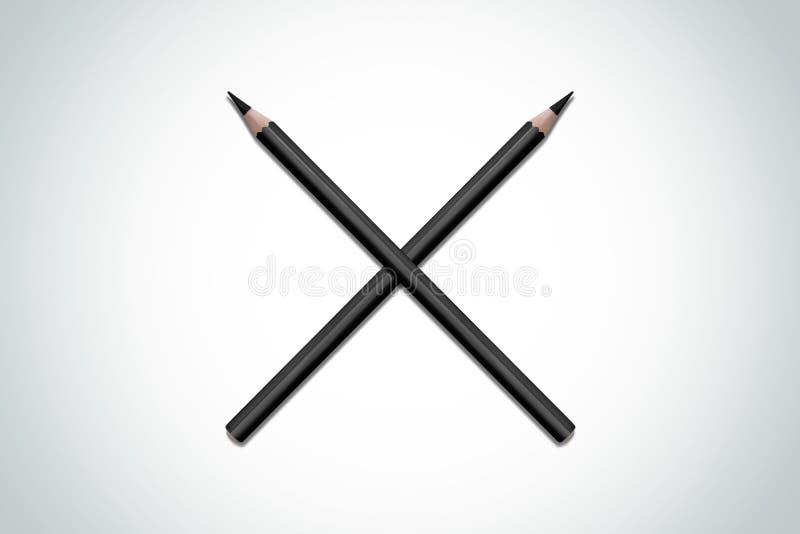 Gekruiste samenstelling van zwarte potloden royalty-vrije illustratie