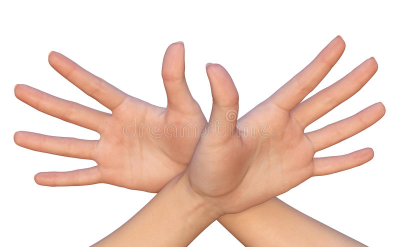 Gekruiste vrouwelijke palmen met uitgerekte vingers stock foto