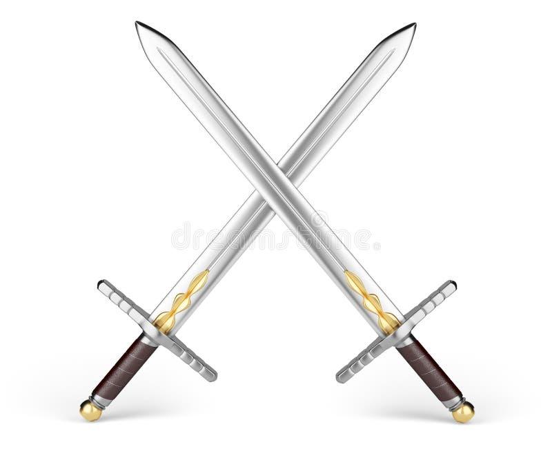 Gekruiste zwaarden royalty-vrije illustratie