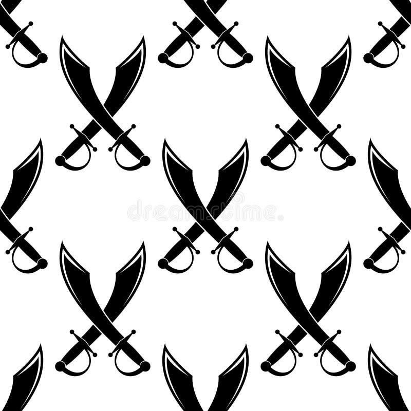 Gekruiste zwaarden of machete naadloos patroon stock illustratie