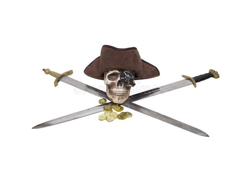 Gekruiste zwaarden met piraatschedel en buit stock afbeelding