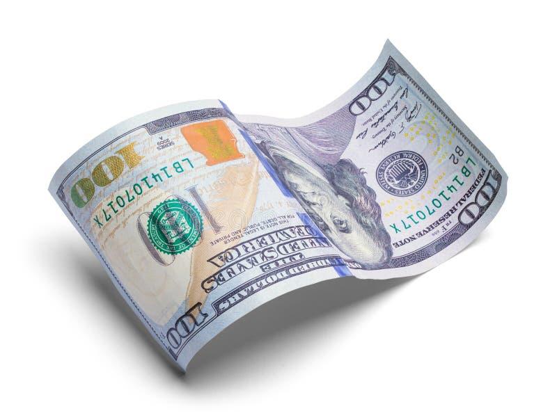 Gekruld Honderd Dollars Bill Upside Down stock afbeelding