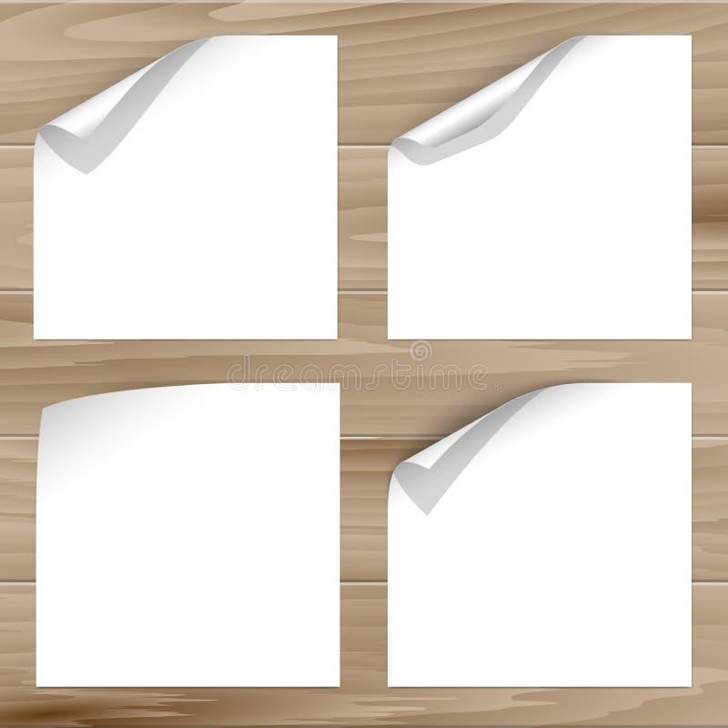 Gekrulde hoek op houten plankenachtergrond stock illustratie