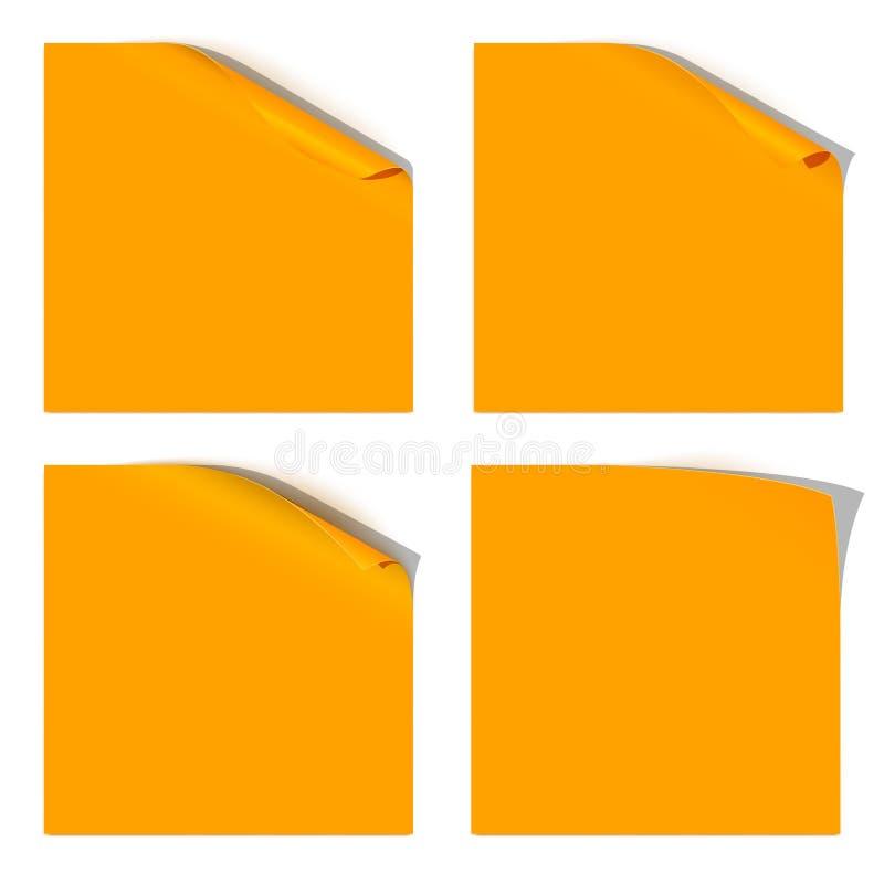 Gekrulde Oranje Document Hoek royalty-vrije illustratie