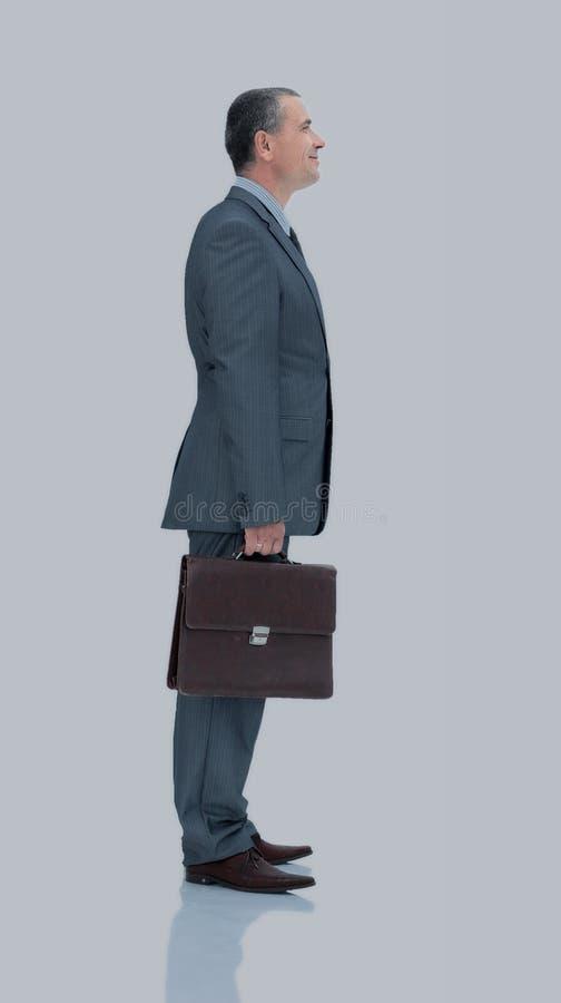 Gekwalificeerde advocaat in een pak met geïsoleerde aktentas royalty-vrije stock foto's