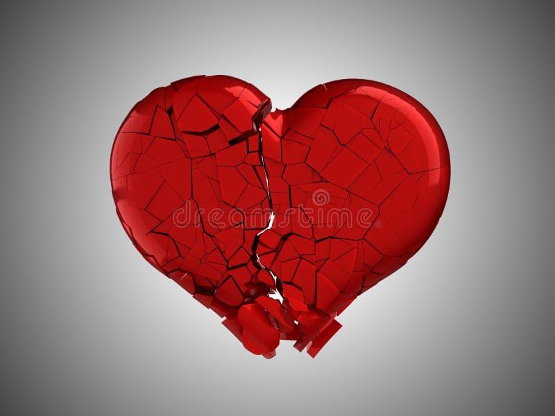 Gekwetst en pijn. Rood Gebroken Hart vector illustratie