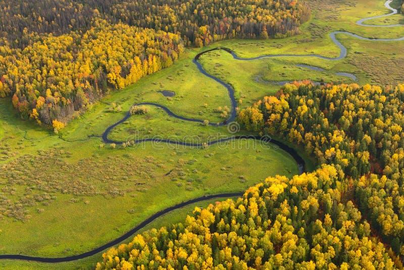 Gelände mit Fluss im Herbst, Draufsicht lizenzfreies stockfoto