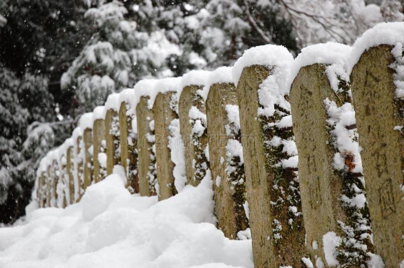 Geländer im Schnee stockbild