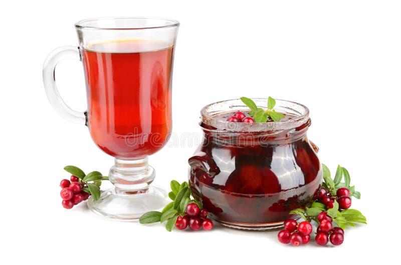 Gelée et thé d'airelle rouge images libres de droits