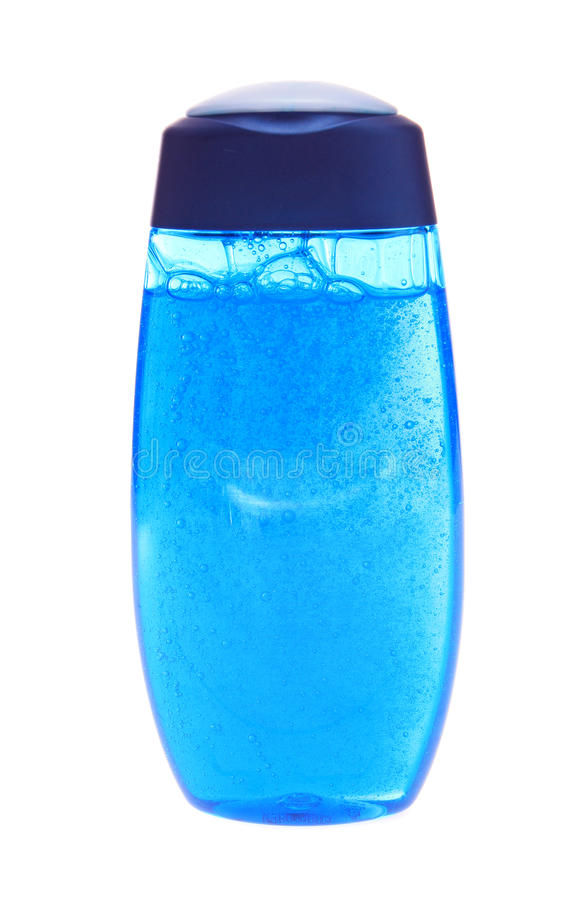 Gel azul de la ducha, aislado. fotos de archivo