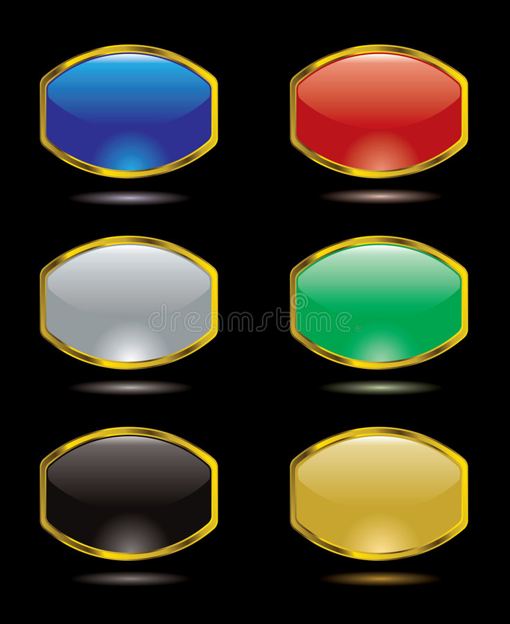 Gel bulge. Collection of six gel filled buttons for the internet stock illustration