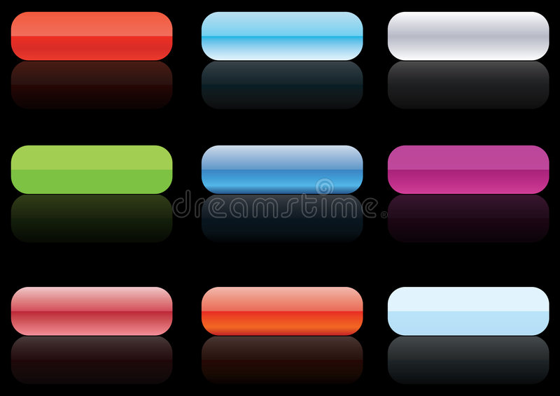 Gel buttons black - vector stock illustration