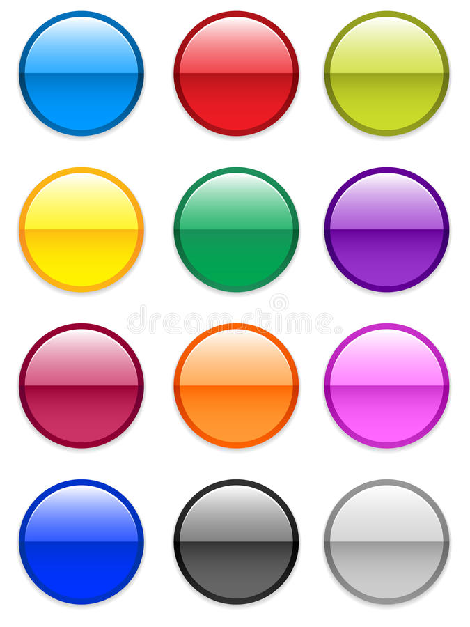 Gel Buttons / EPS. Large round glassy / gel round buttons in various colors. Also available in vector EPS format stock illustration