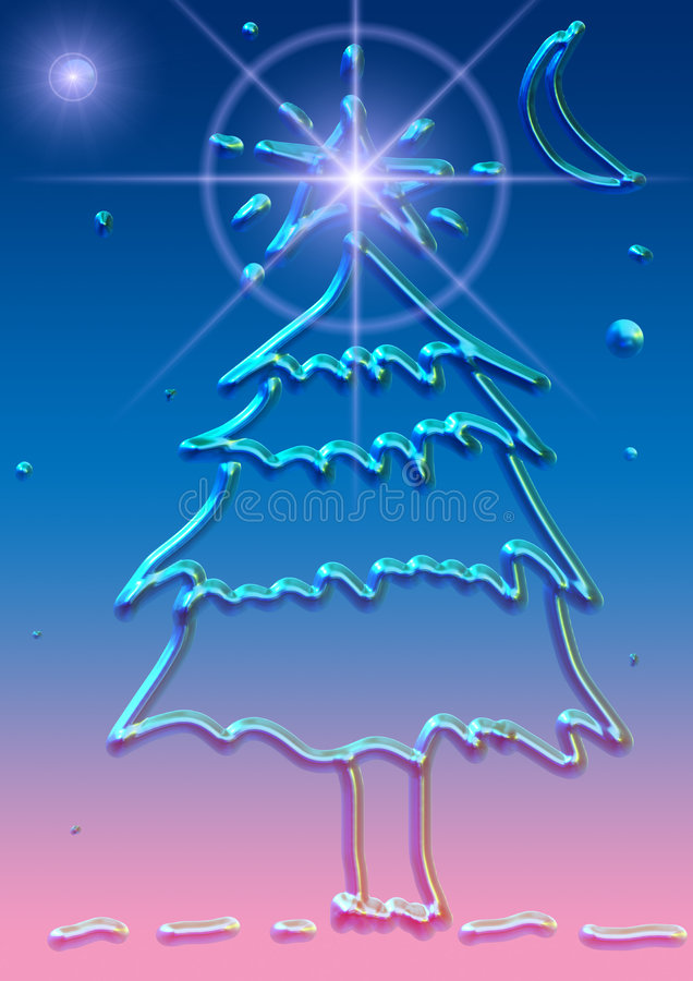 Gel Christmas. Computer generated (illustration) Christmas tree, made of transparent gel stock illustration
