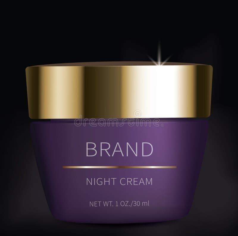 Gel cosmétique de nuit pour des soins de la peau de yeux illustration stock