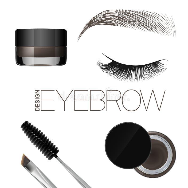 Gel de coloration pour des sourcils Maquillage de sourcils Brosse et peigne pour le sourcil Beaux oeil et front fermés D'isolemen illustration stock