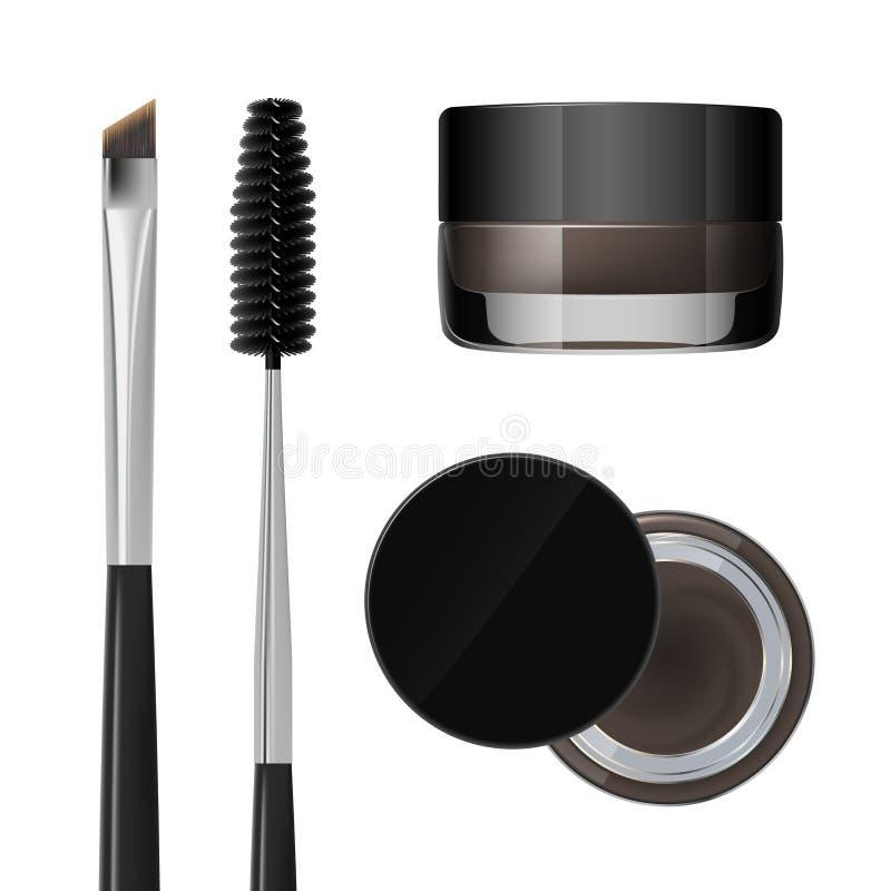 Gel de coloration pour des sourcils Produit de maquillage de sourcils Brosse et peigne pour le sourcil D'isolement sur un fond bl illustration de vecteur