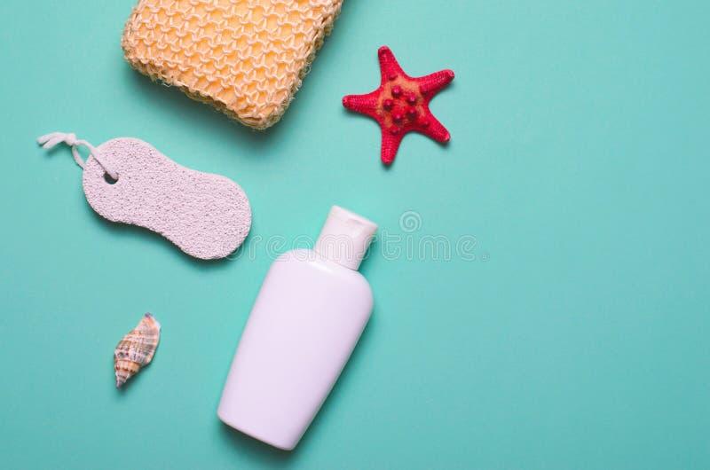 Gel de concept, d'éponge, de shampooing ou de douche d'articles de Bath, pierre ponce, vue supérieure, configuration plate image libre de droits