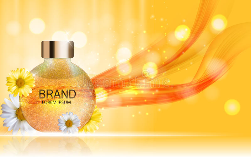 Gel de douche, bouteille crème avec le calibre de camomille de fleurs pour des annonces illustration de vecteur