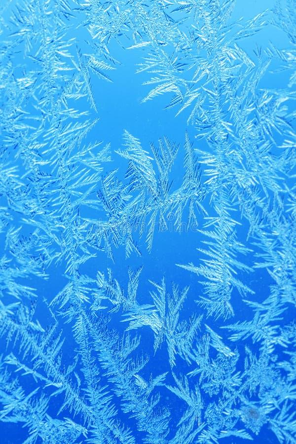 Gel de glace d'hiver, fond congelé textur givré de verre de fenêtre photographie stock libre de droits