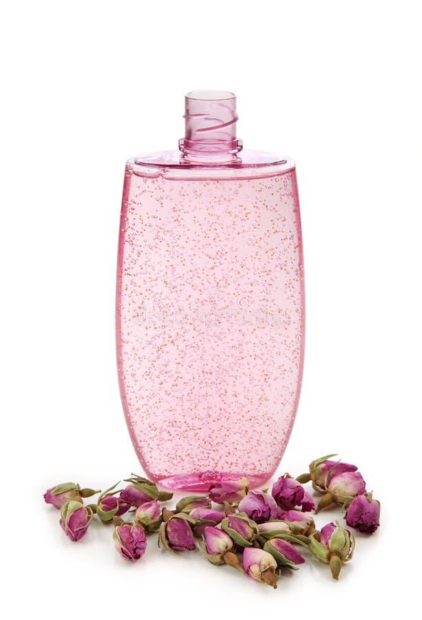 Gel do chuveiro com rosas secadas imagem de stock royalty free