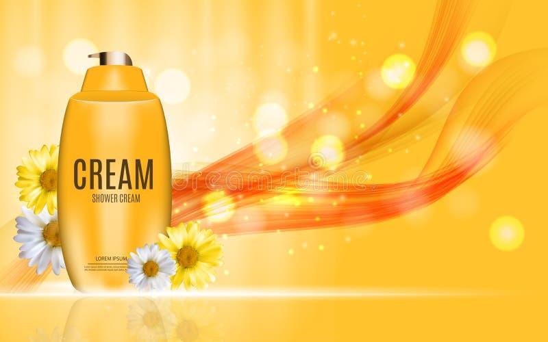 Gel do chuveiro, garrafa de creme com molde da camomila das flores para anúncios ilustração royalty free
