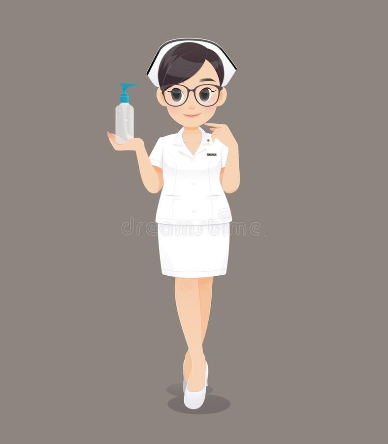 Gel femminile di lavaggio della mano della tenuta dell'infermiere illustrazione vettoriale