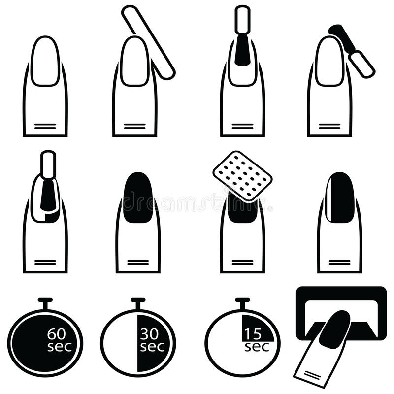 Gel and hybrid nails preparation process, lacquer up, and protection process under uv and led lamp icon set in black and white vector illustration