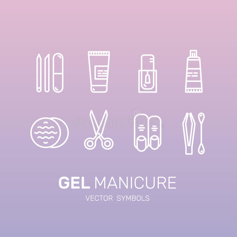 Gel Manicure Pedicure Salon or Shop Web Site Page. Vector Icon Style Illustration Set for Gel Manicure Pedicure Salon or Shop Web Site Page, Objects, Nail and royalty free illustration