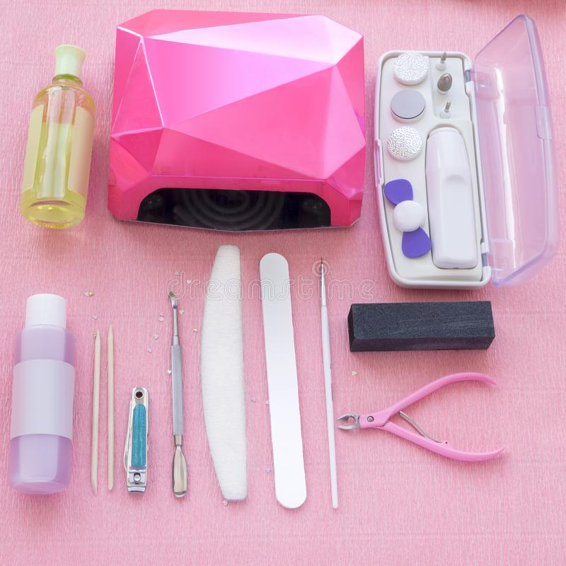 Gel Manicure Set With Nail File, Lamp, Tweezers, Wood Sticks And ...
