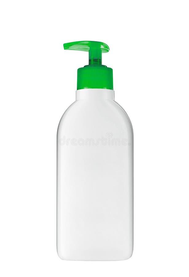 Gel, mousse ou savon liquide dans la bouteille en plastique photographie stock libre de droits