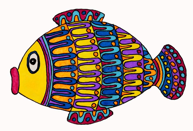 Drawing of cute little fish. royalty free illustration