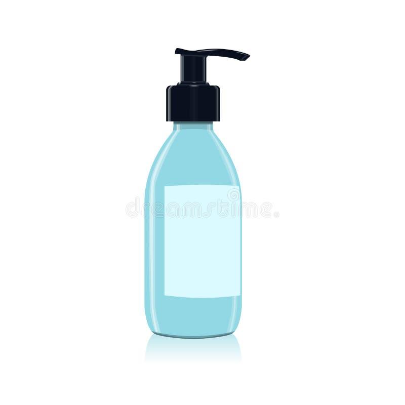 Gel, piany lub ciekłego mydła aptekarki pompy butelki plastikowy błękit, royalty ilustracja