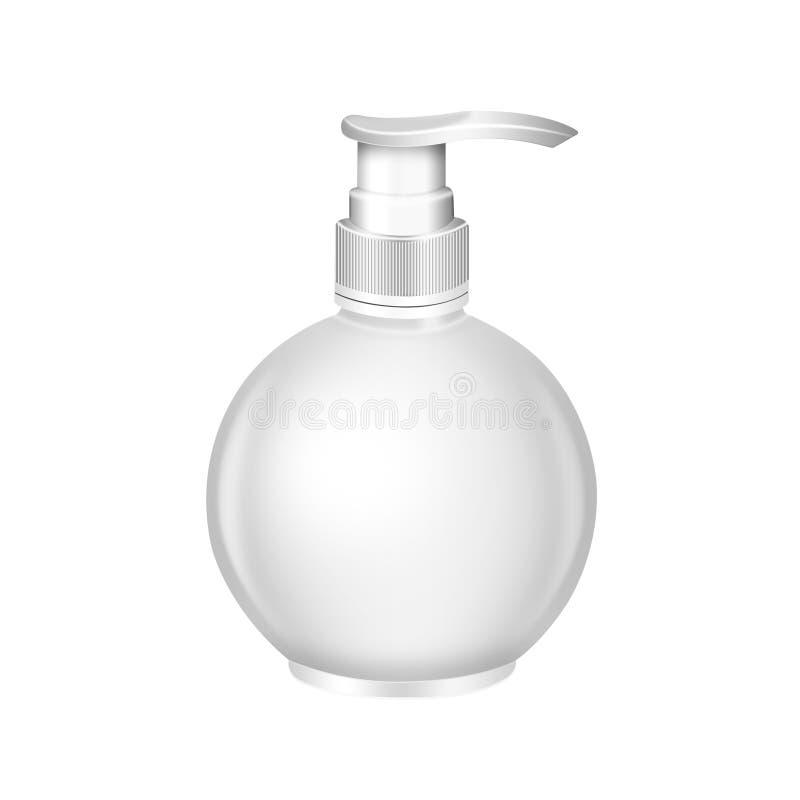 Gel, piany lub ciekłego mydła aptekarki pompy round plastikowa butelka, ilustracja wektor