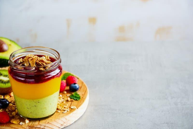 Gelaagd fruit smoothie royalty-vrije stock afbeelding